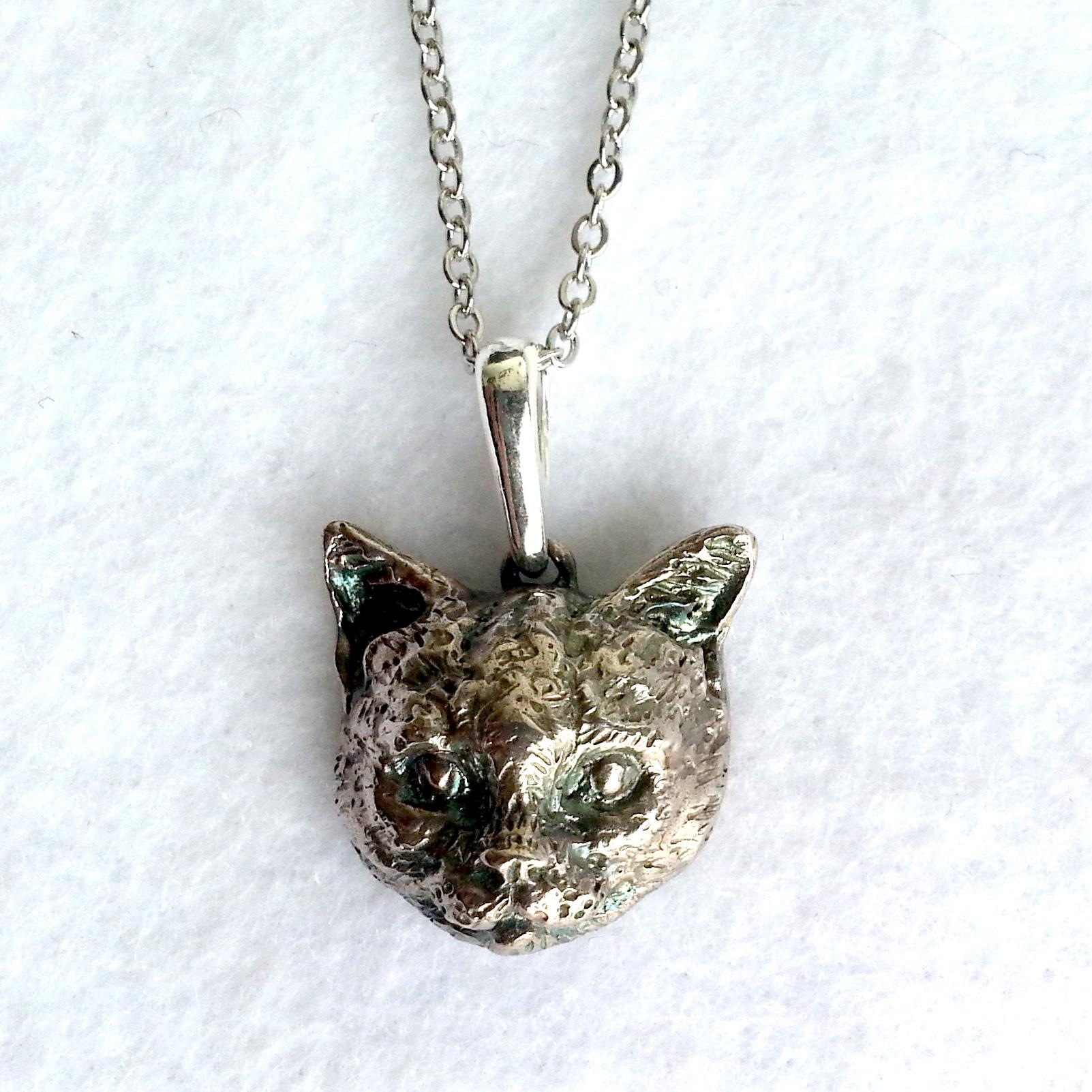 スッとしたネコ・silver925製ペンダント(猫・ネコ・にゃんこ・アメリカンショートヘア・日本猫・アメショ)