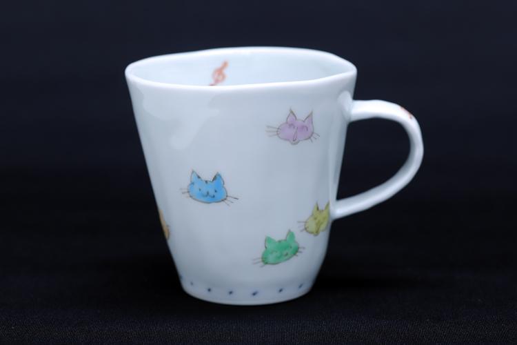 藍水 猫 マグカップ(小) うつわ藍水(波佐見焼)人気の猫の絵柄