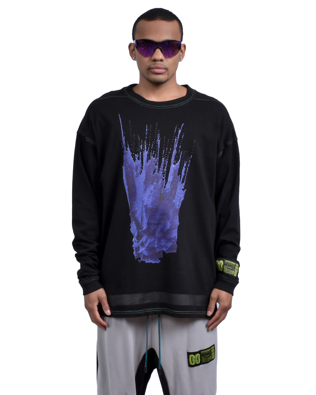 LIQUID OVERSIZED  L/S TEE - BLACK/GREEN