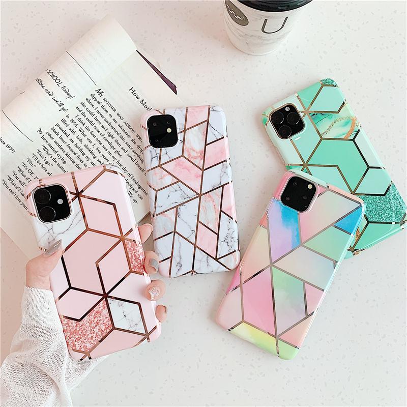 【お取り寄せ商品、送料無料】4タイプ パステルカラー 幾何模様 ソフト iPhoneケース iPhone11