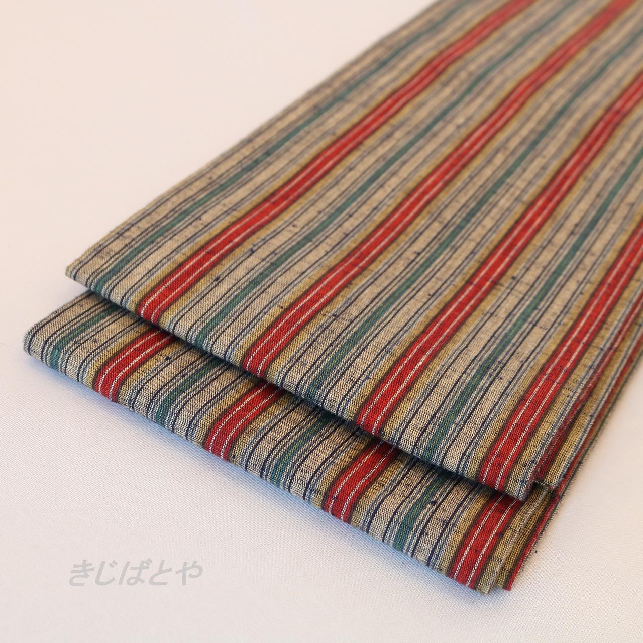 正絹紬 縞の半幅帯