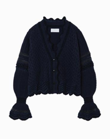 【20AW】mame kurogouchi マメクロゴウチ / Lace Knitting Cardigan