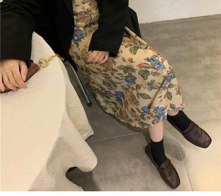 〈カフェシリーズ〉レトロ花柄プリントスカート【rétro flower print skirt】