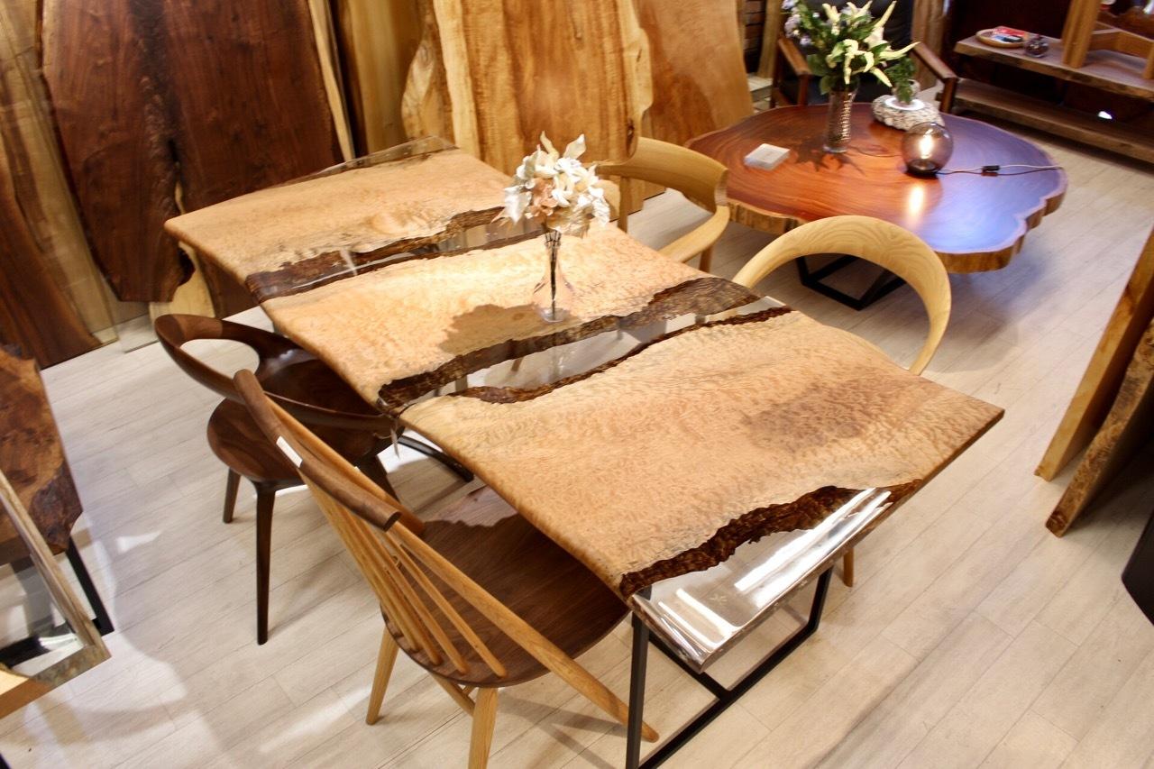 ≪浅草店≫ アフリカンチェリー(ボセ) レジンテーブル 1800×850×26 20713