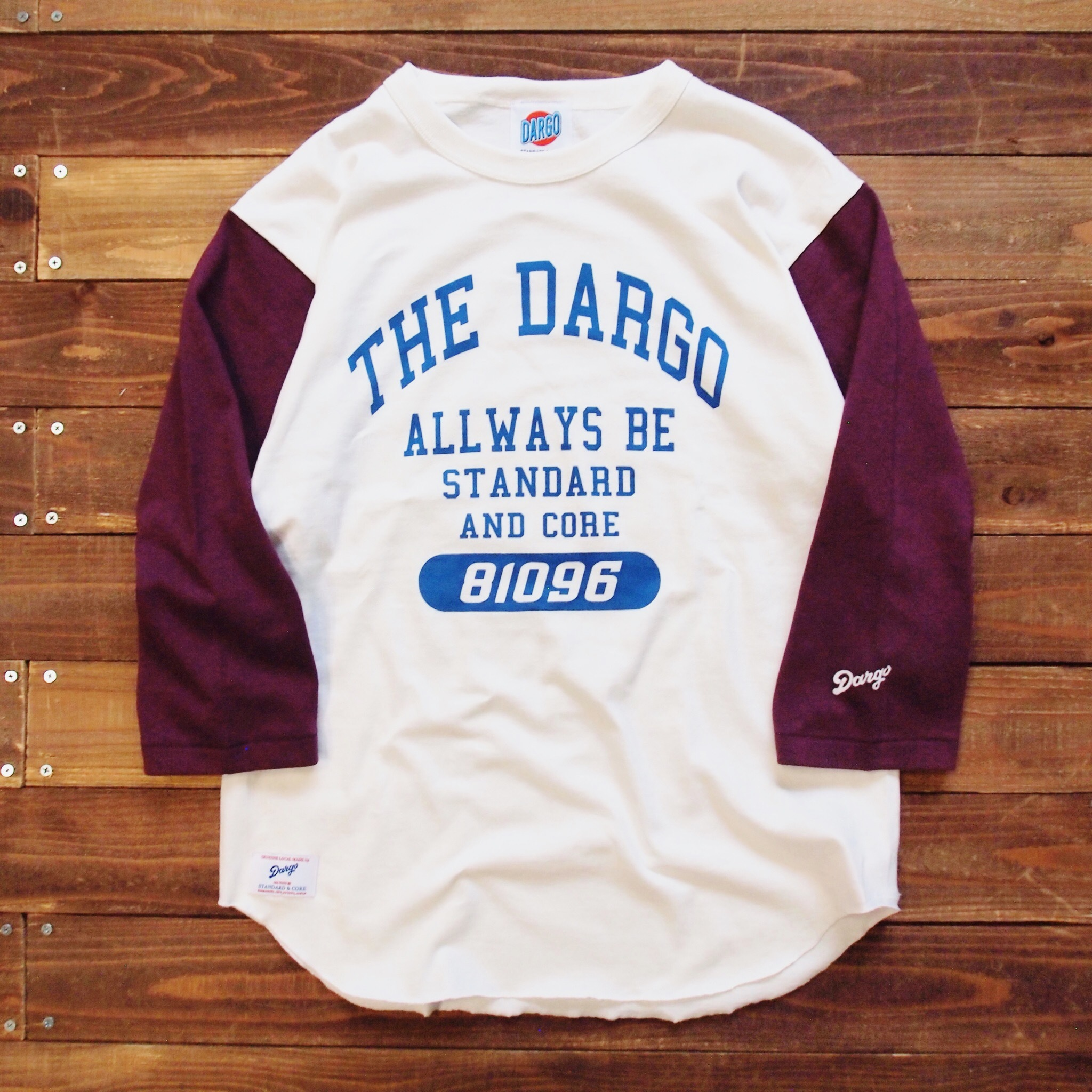 "【DARGO】""College Logo"" Base Ball T-shirt (WINE × NATURAL)"