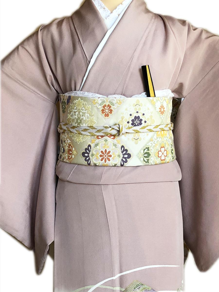 レンタル色留袖■押えた桃色地 牡丹や菖蒲金彩に松と桔梗柄■irotome4【往復送料無料】 - 画像3