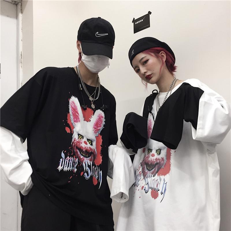 【tops】原宿風配色動物柄プルオーバーTシャツ22994991