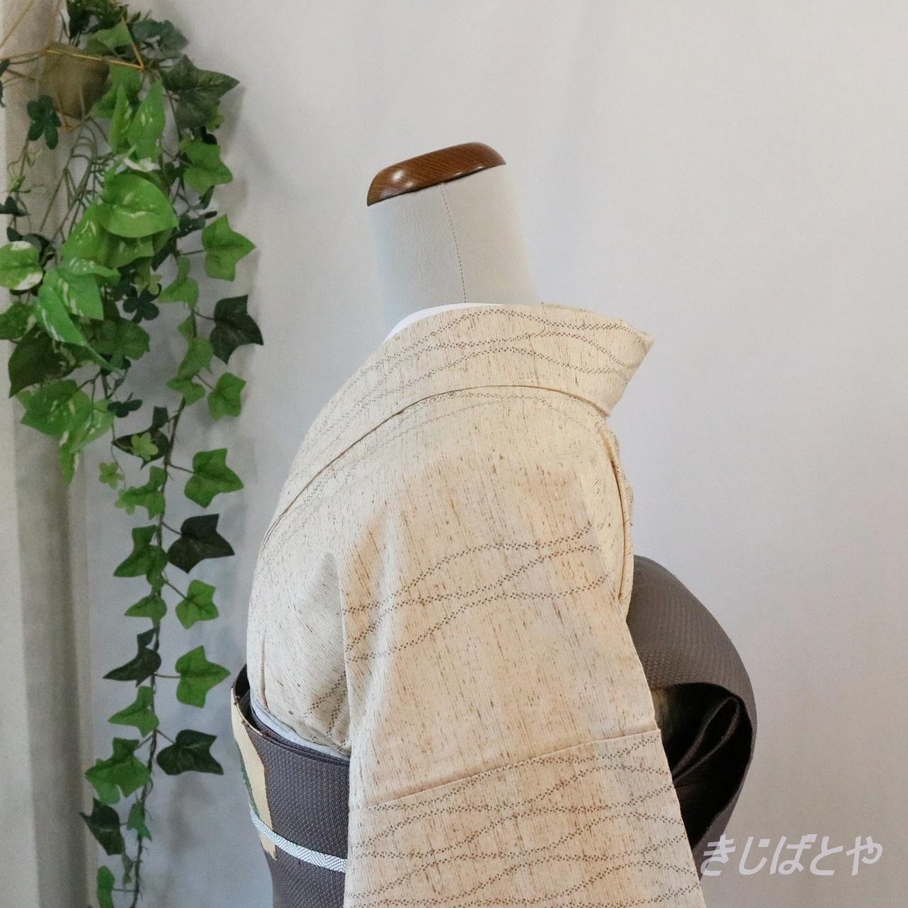 正絹紬 翁茶に立涌の小紋 単衣