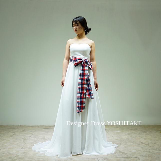 【オーダー制作】ウエディングドレス(無料パニエ) 白スレンダーシフォンドレス&チェックリボン/カジュアルウエディングパーティー※制作期間3週間から6週間