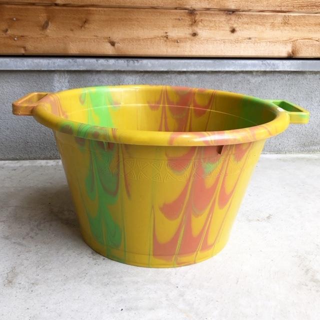 アフリカ Marble plastic bucket φ45cm・マーブルバケツ / 両手桶