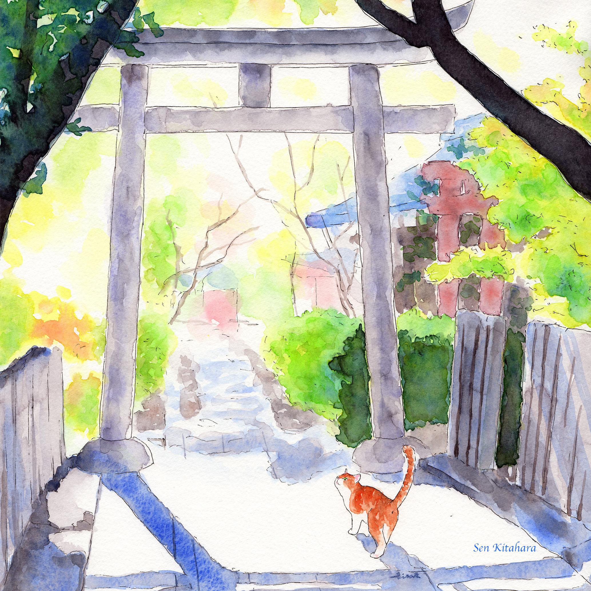 絵画 インテリア アートパネル 雑貨 壁掛け 置物 おしゃれ 水彩画 創作 猫 ネコ ねこ 動物 ロココロ 画家 : 北原 千 作品 : ええ日やな