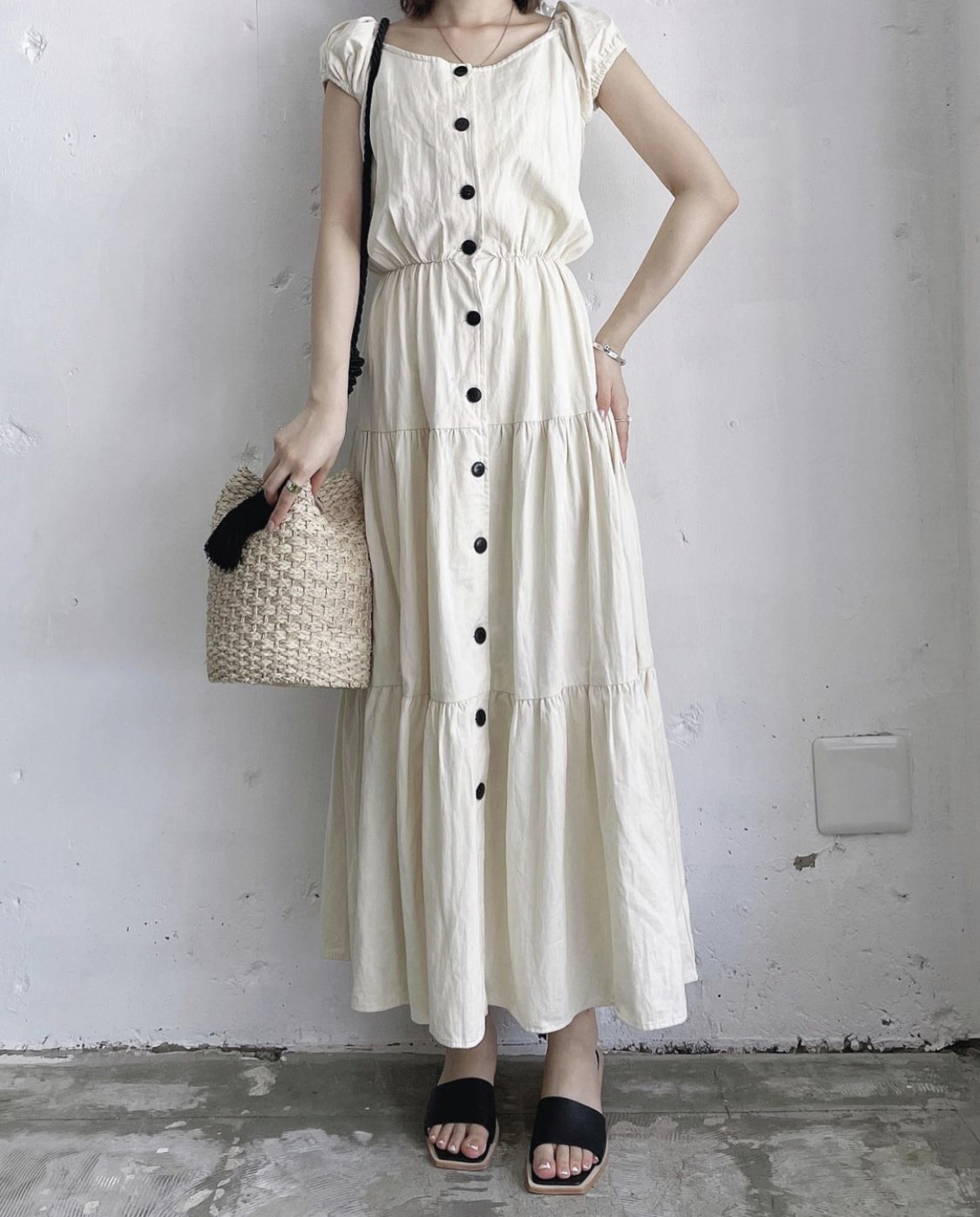 made in U.S.A. vintage sleeveless tiered onepiece - ivory -