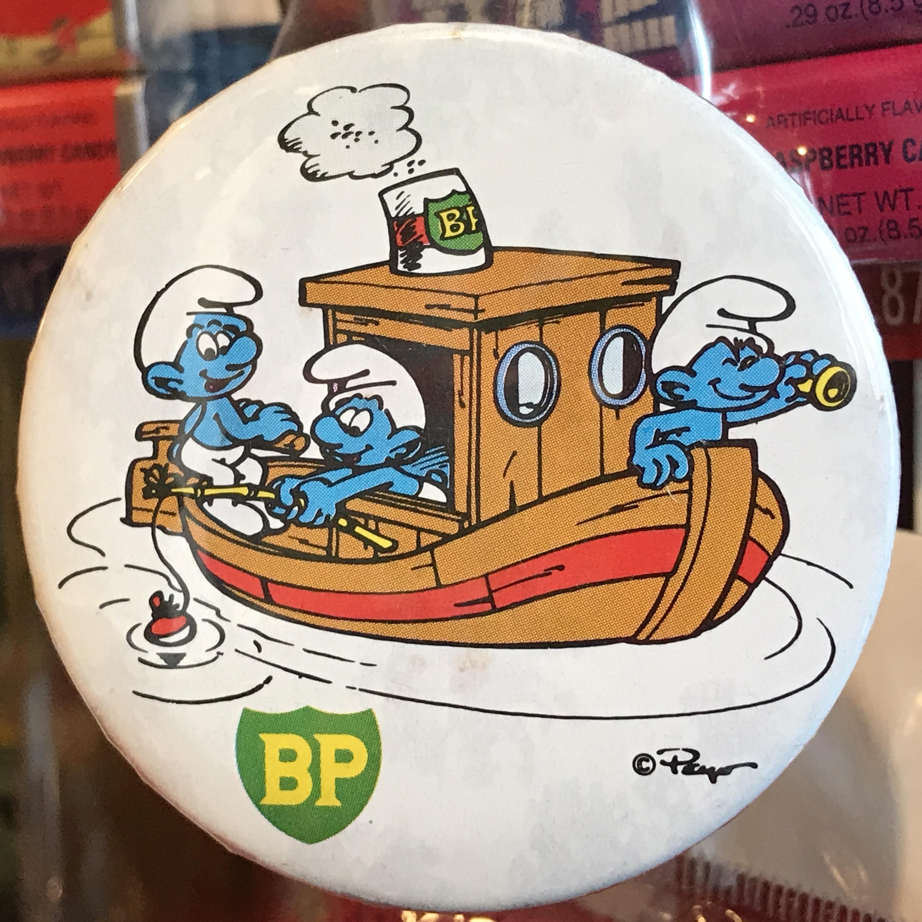 スマーフ 80's BP 企業物 オールド 缶バッジ 蒸気船ver.