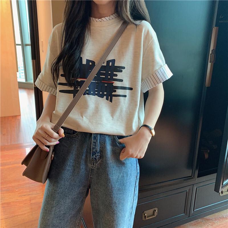 【送料無料】 1枚でおしゃれ見え♡ レイヤード 重ね着風 ボーダー シャツ ロゴ 半袖 Tシャツ トップス