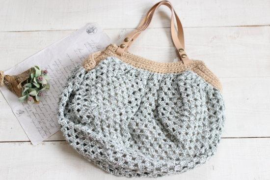 手編みのころころバッグ*グリーン/sakura 型番:B-5