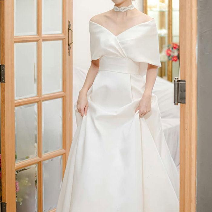 ウエディングドレス オフショルダー ロングドレス