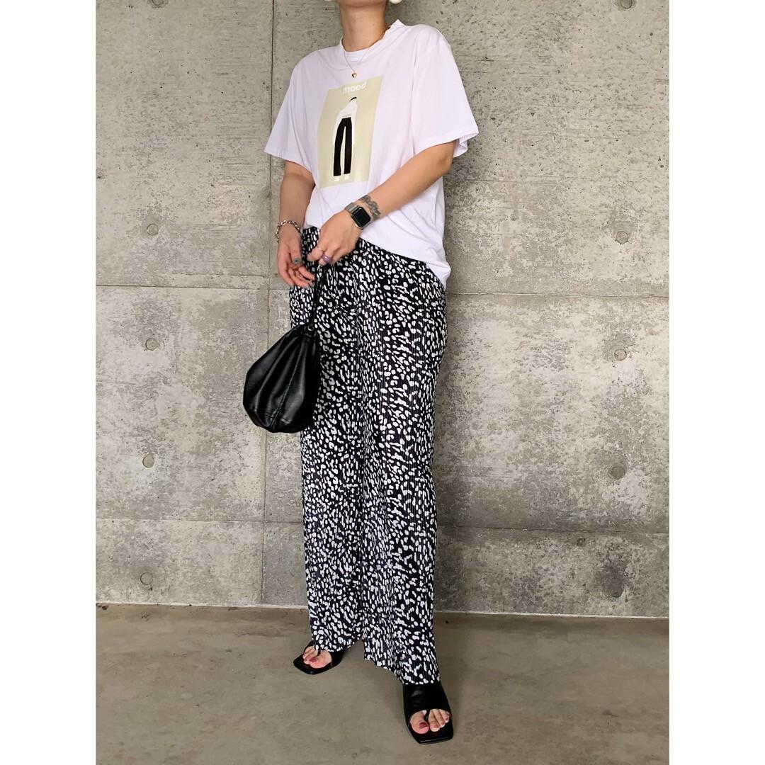 【asyu】pleats leopard pants
