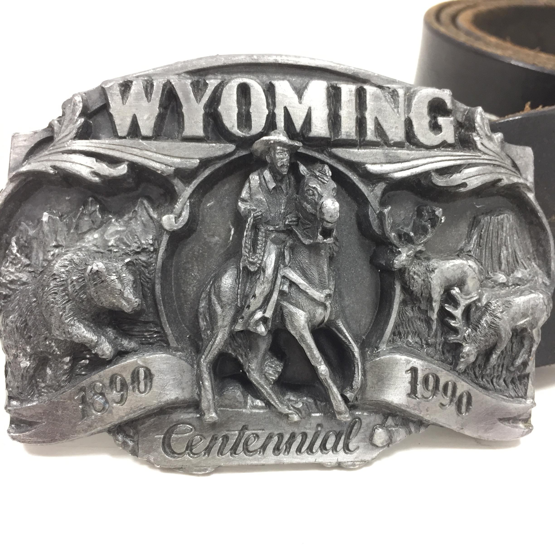 品番0085 レザー ベルト ブラック Wyoming Centennial ワイオミング センテニアル USA ヴィンテージ 011