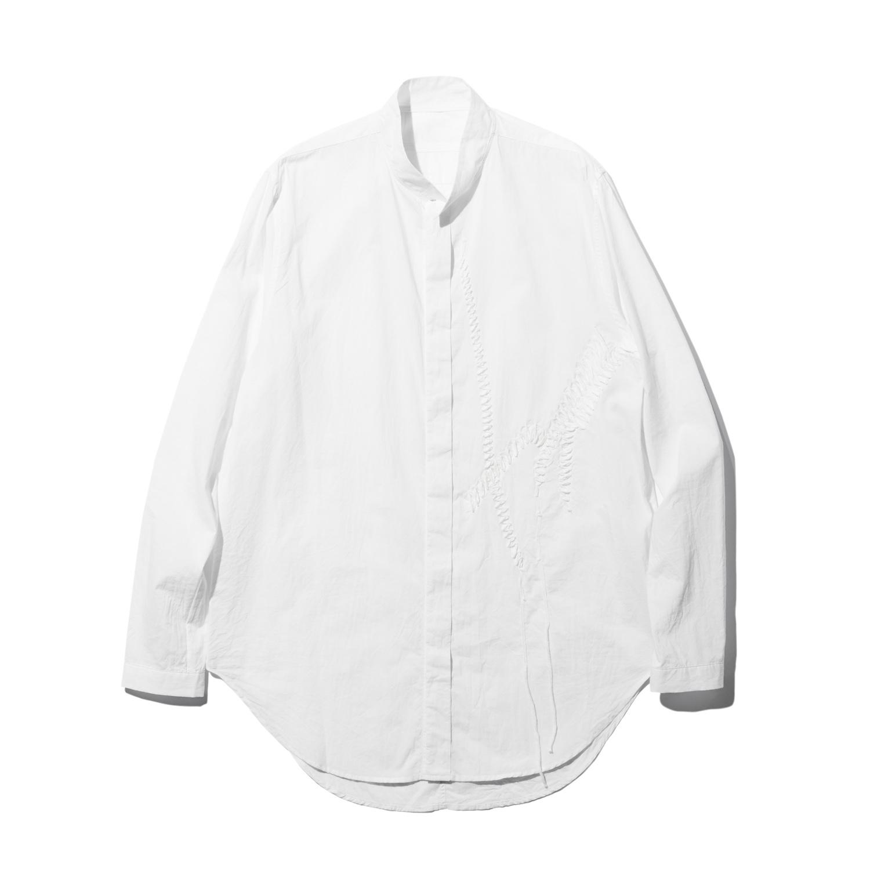 737SHM5-WHITE / 刺繍 スタンドカラーシャツ