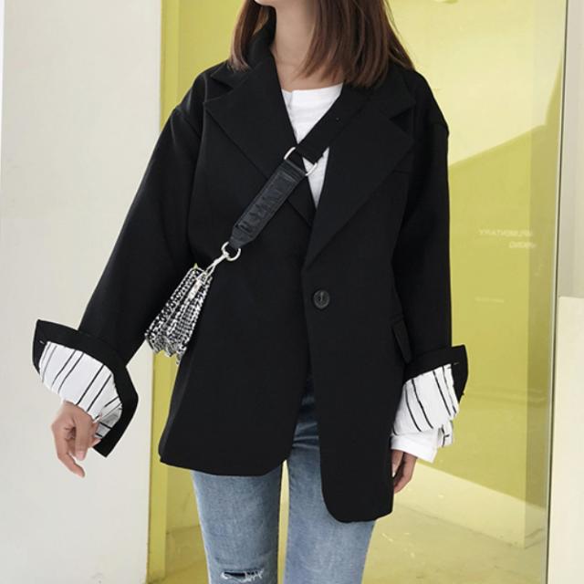 今季トレンド☆ スーツ ジャケット シック Vネック ゆったり カジュアル 体型カバー ミディ丈