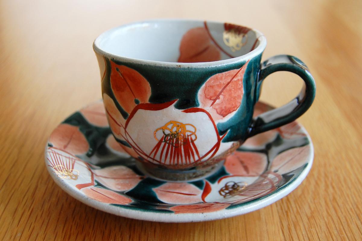 カップ&ソーサー 釉彩椿