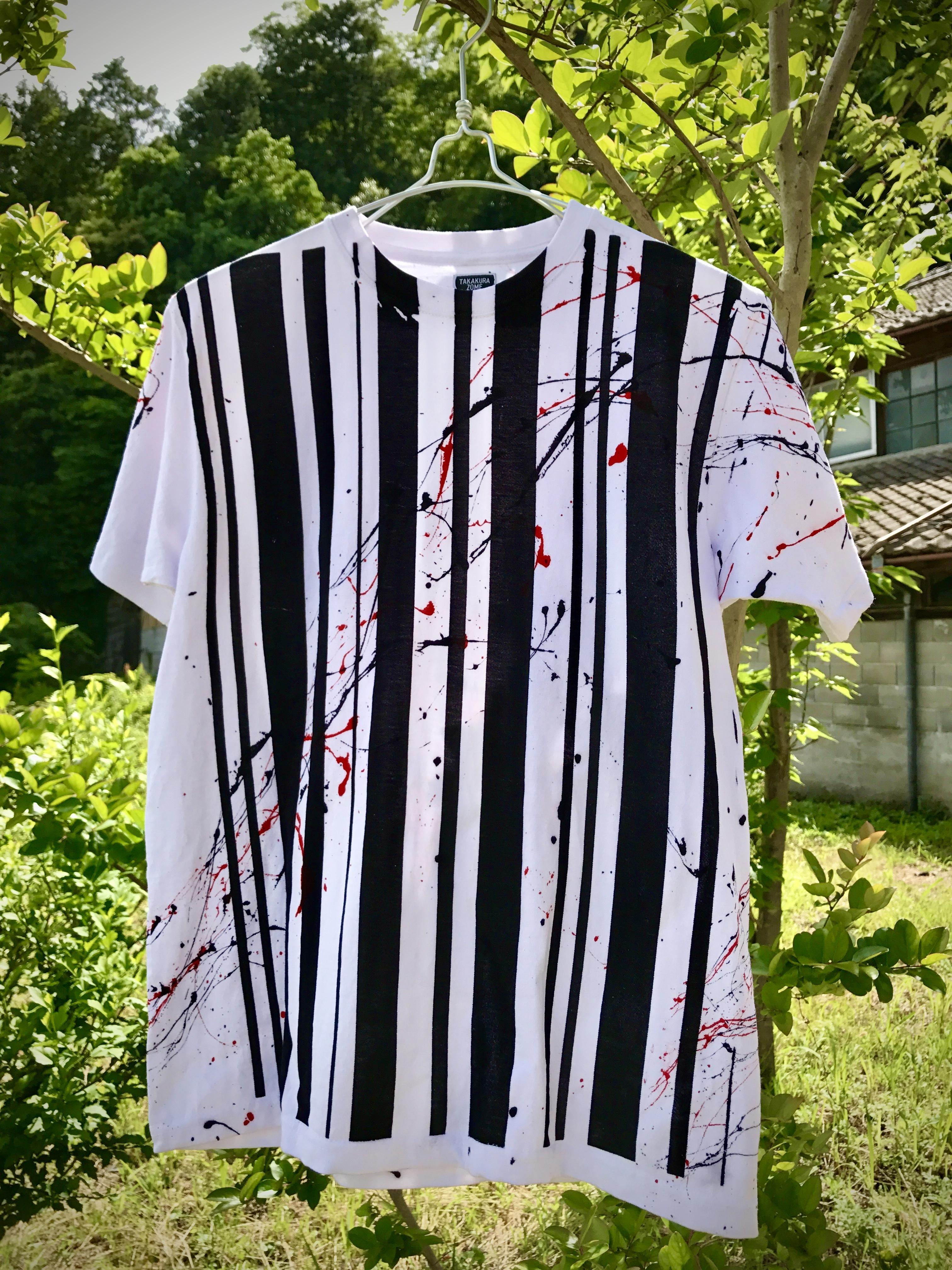 バーコードシブキTシャツ(白地×ブラックモチーフ)