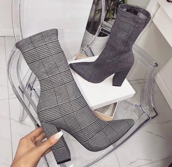 チェック ヒール ショート ブーツ