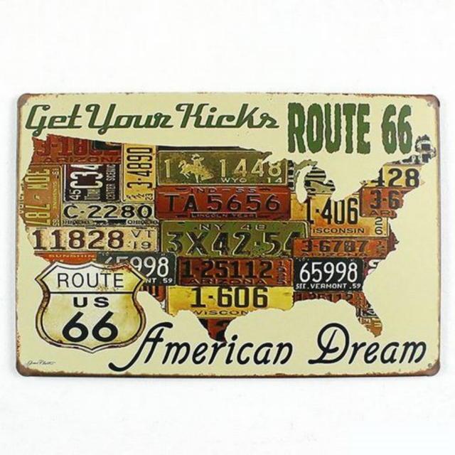 【ブリキ看板】ルート66アメリカンドリーム 小型版[A62521]