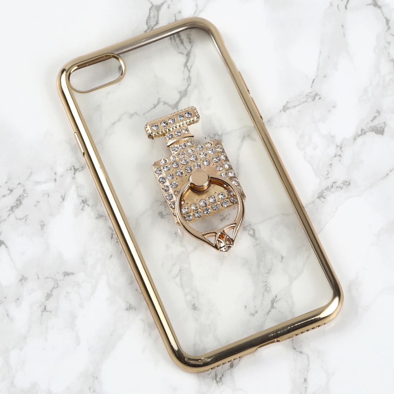【送料無料】縁ゴールドのソフトケース&香水ボトル&バンカーリング iPhoneケース