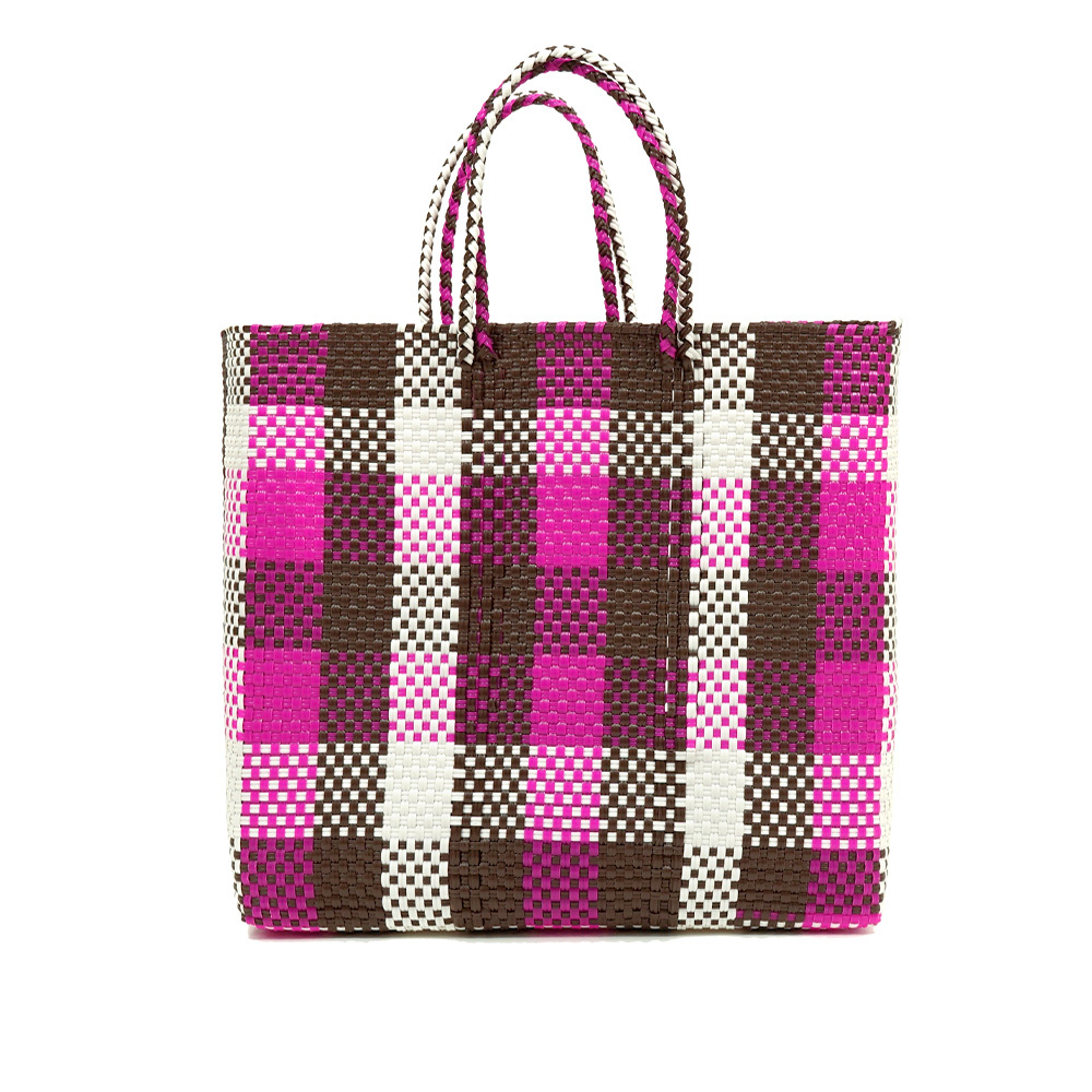 MERCADO BAG CHECK - pink x white x brown (M)