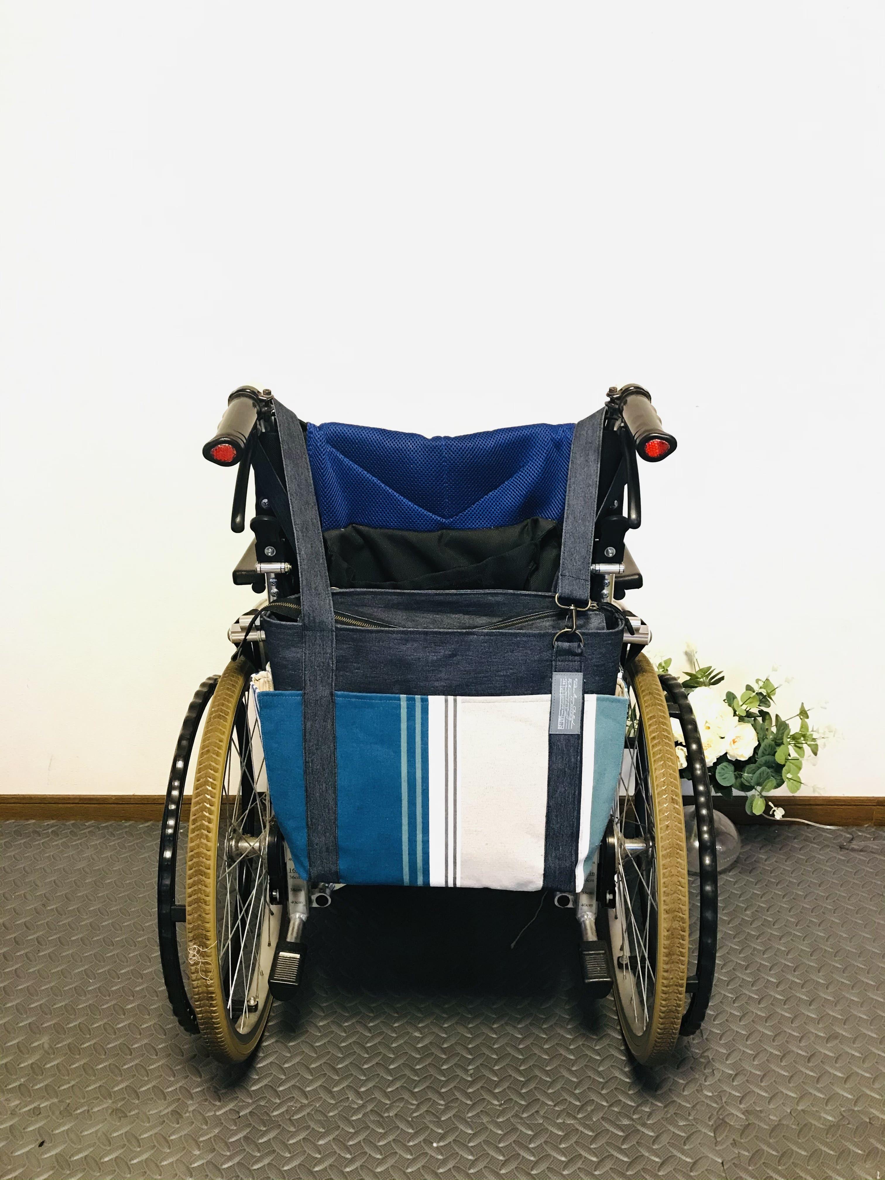 【車椅子対応】フランスSTOF社ストライプ×8号キャンバス4つポケットトート