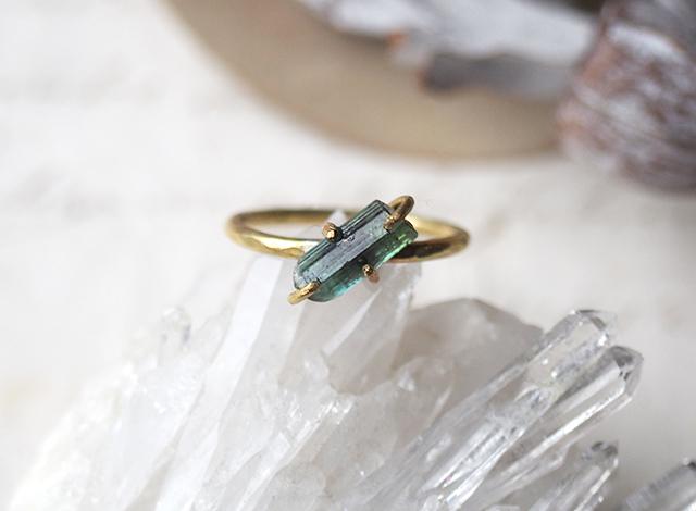 【一点物】原石のグリーントルマリンのリング