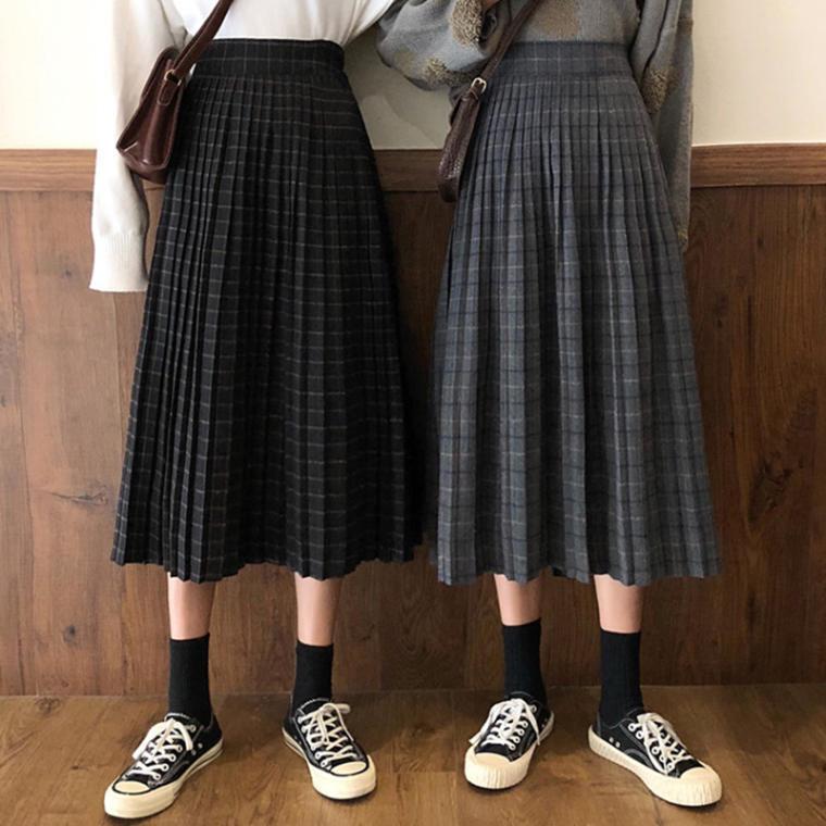 【送料無料】 おしゃれチェック♡ レトロ 上品 ミモレ丈 Aライン プリーツ スカート スクールガール風