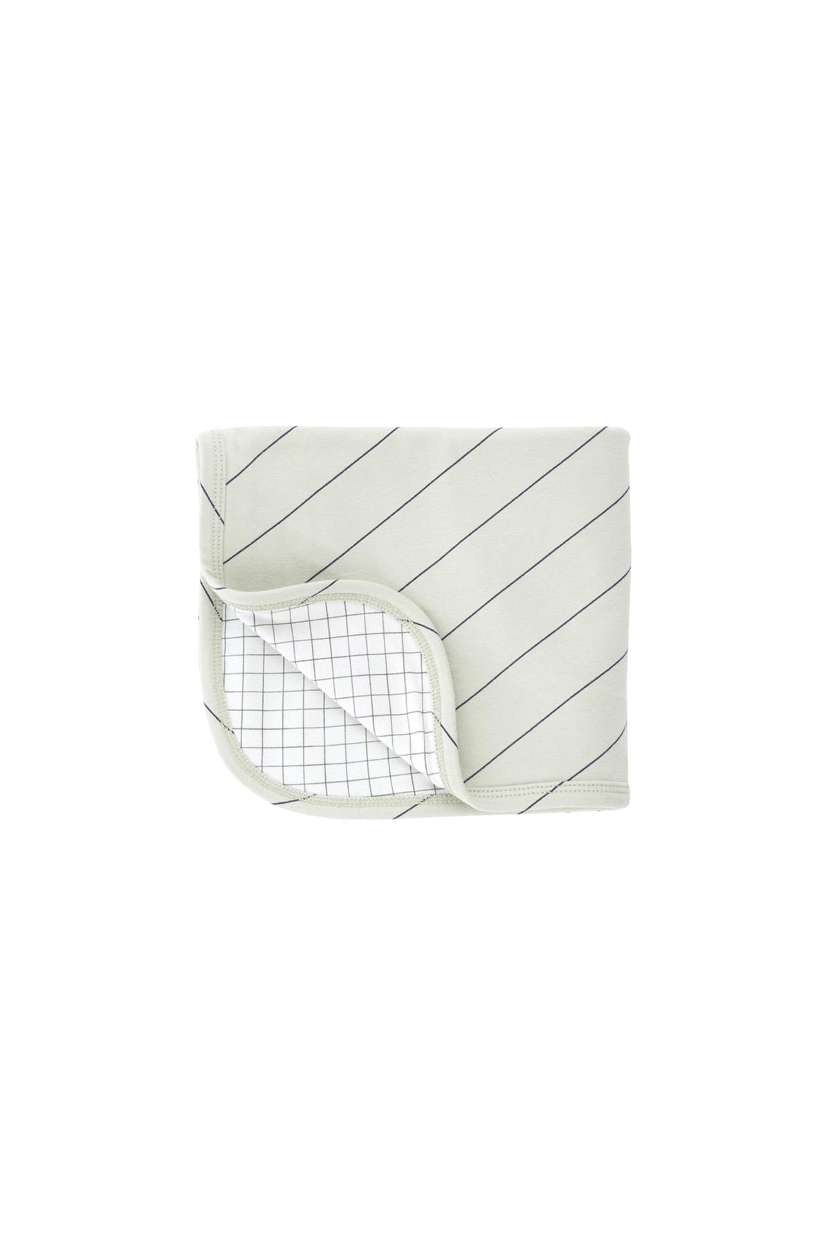 《tinycottons 2018AW》diagonal stripes blanket / pistacho × navy