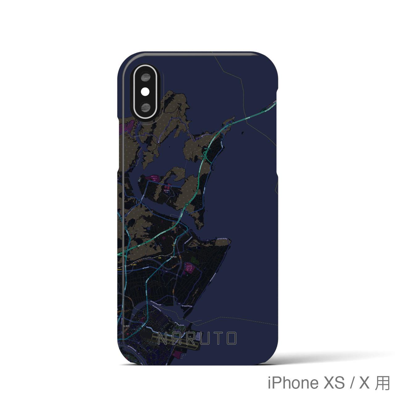 【鳴門】地図柄iPhoneケース(バックカバータイプ・ブラック)