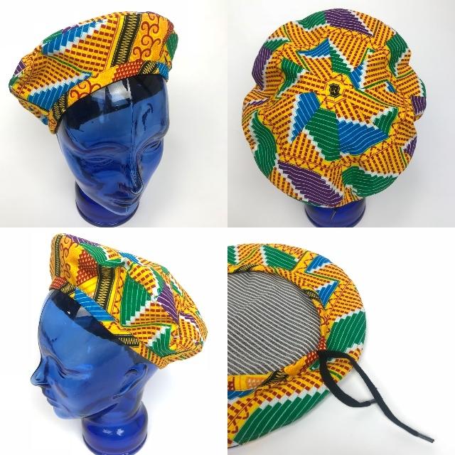 アフリカンプリントベレー帽 06