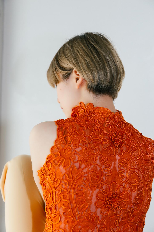 70's Bolero Embroidery Pumpkin Orange Vest