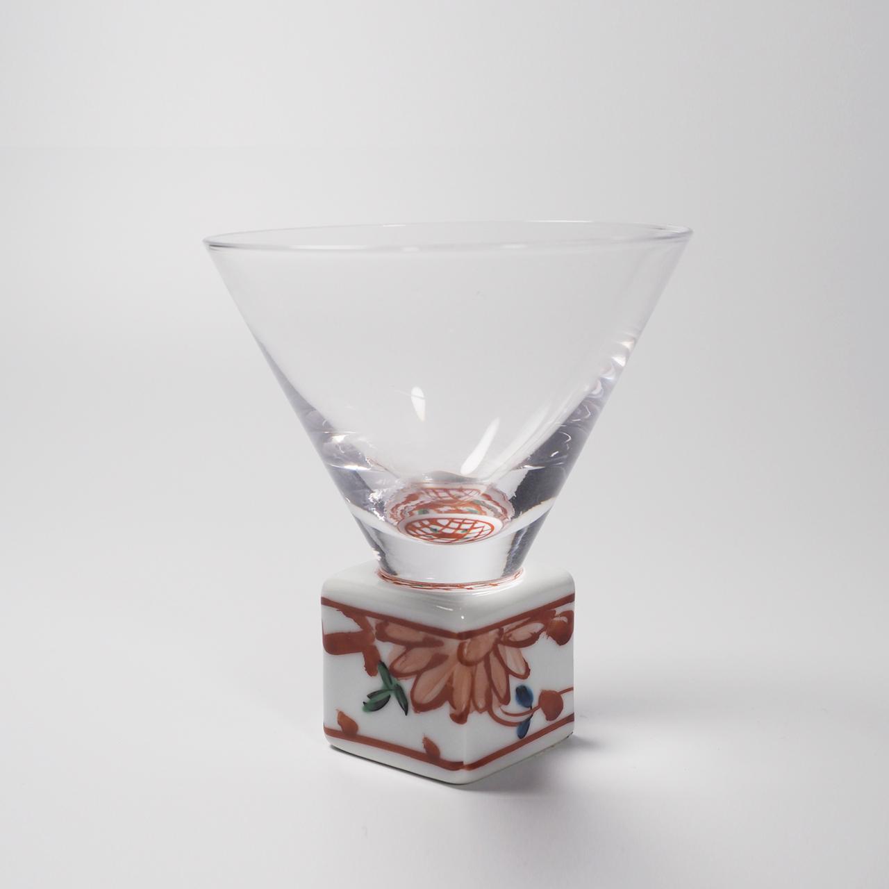 酒グラス(正角) 赤絵錦剣先万歴 20-003-A