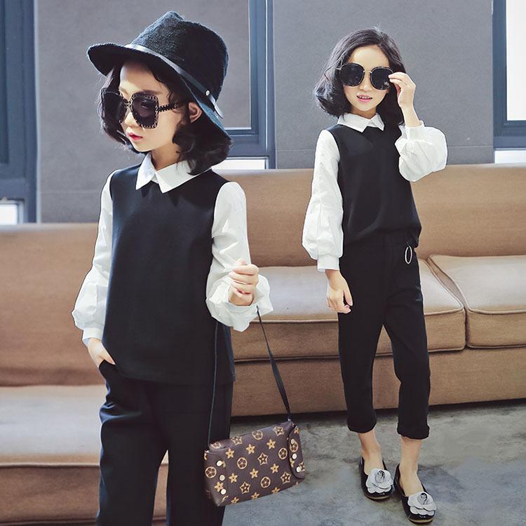 4aa528ddc0eb9 ... 子供服 スーツ 女の子 入学式 送料無料.  キッズフォーマルセットアップ 二点セット シャツ+七分丈レギンスパンツ 韓国