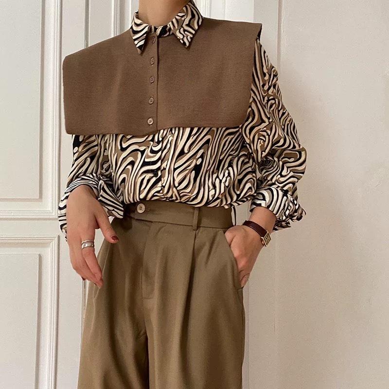 design collar zebra shirt