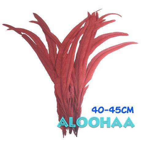単色ロングフェザー【赤】40-45cm 10本 DIY 羽 衣装材料 タヒチアン