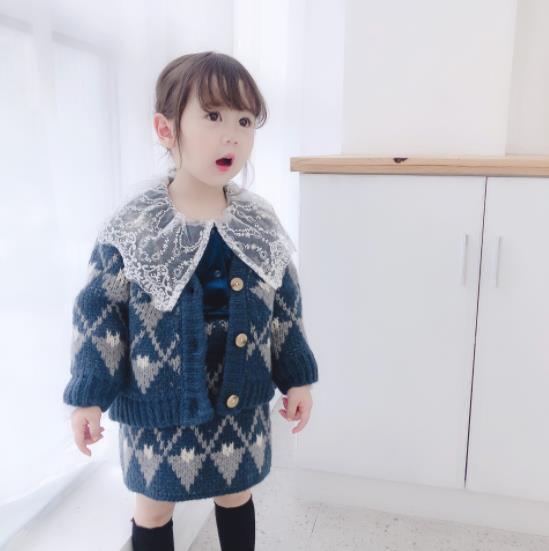 004子供服 キッズ服 ファッション 女の子 ママ 2点セット コート+スカ-ト ニット