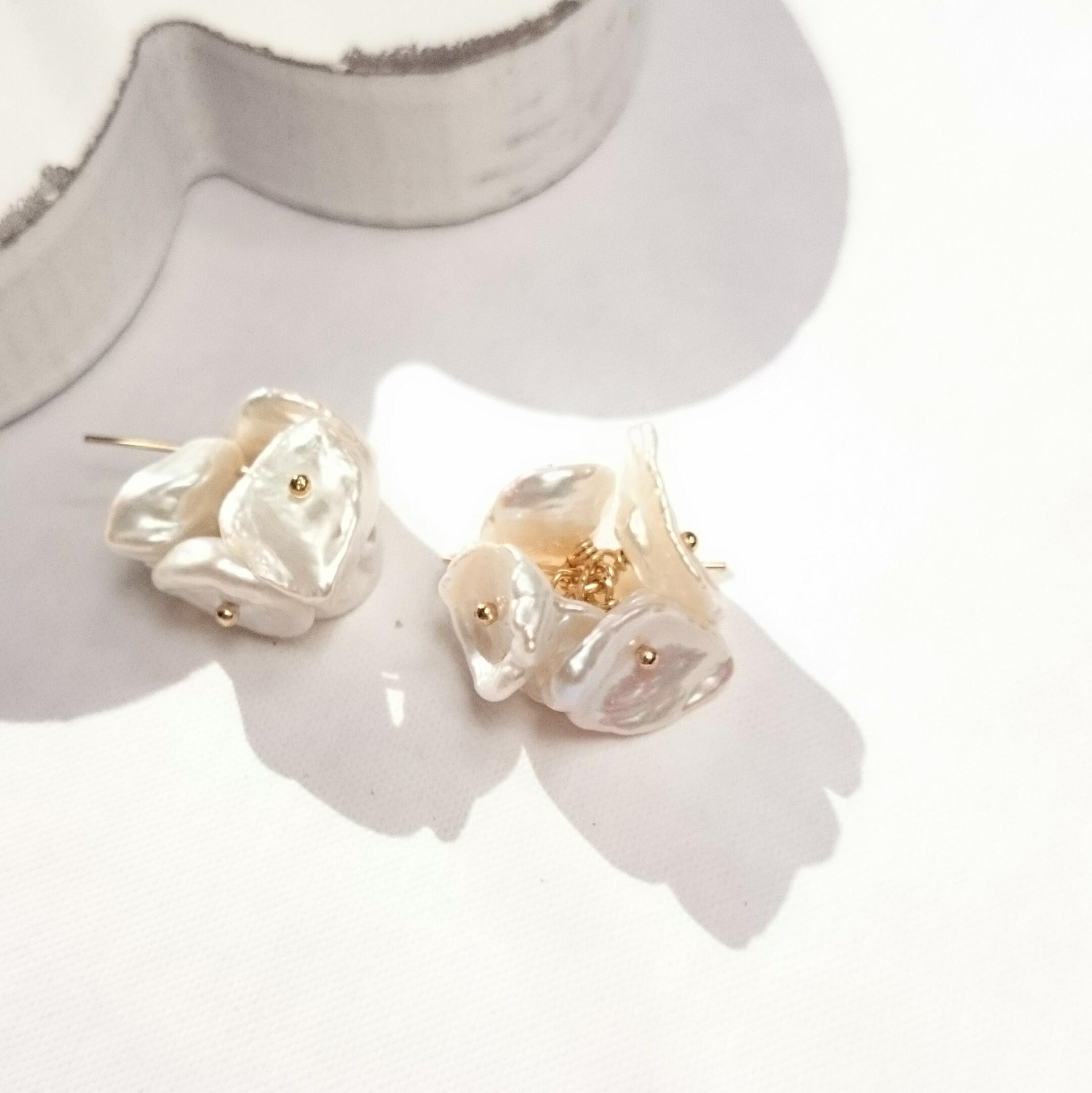 送料無料14kgf*petal freshwater pearl pierced earring/earring