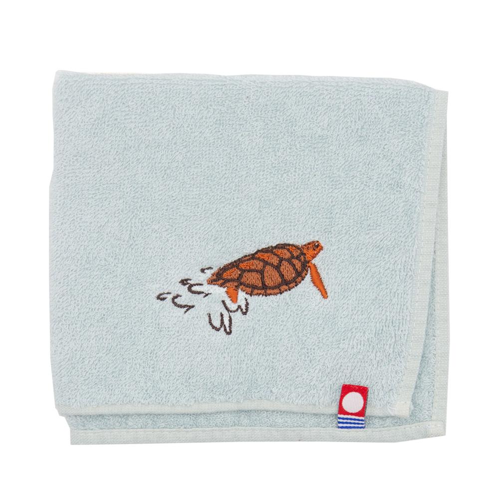 アカウミガメ刺繍のタオルハンカチ|今治タオル