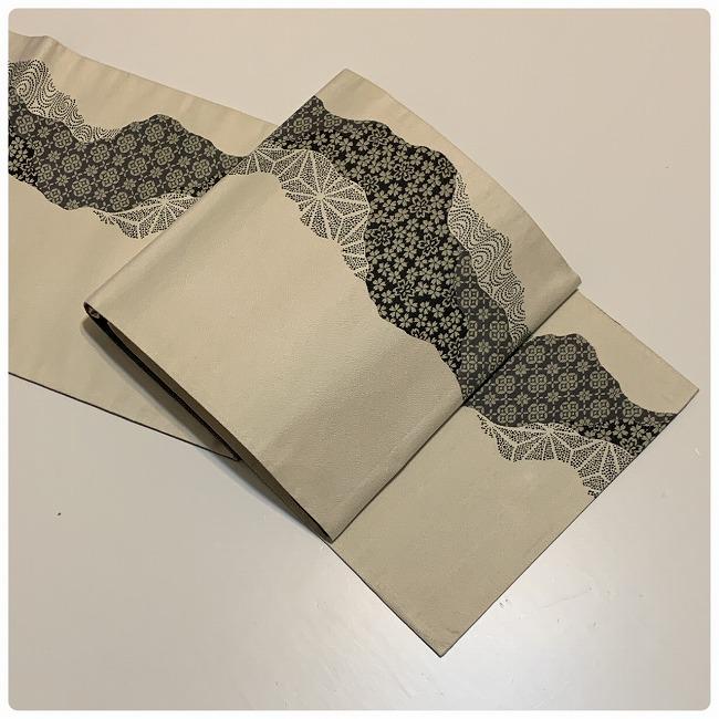 ★ 美品 袋帯 小花 麻の葉 白黒系 正絹 ★ i39