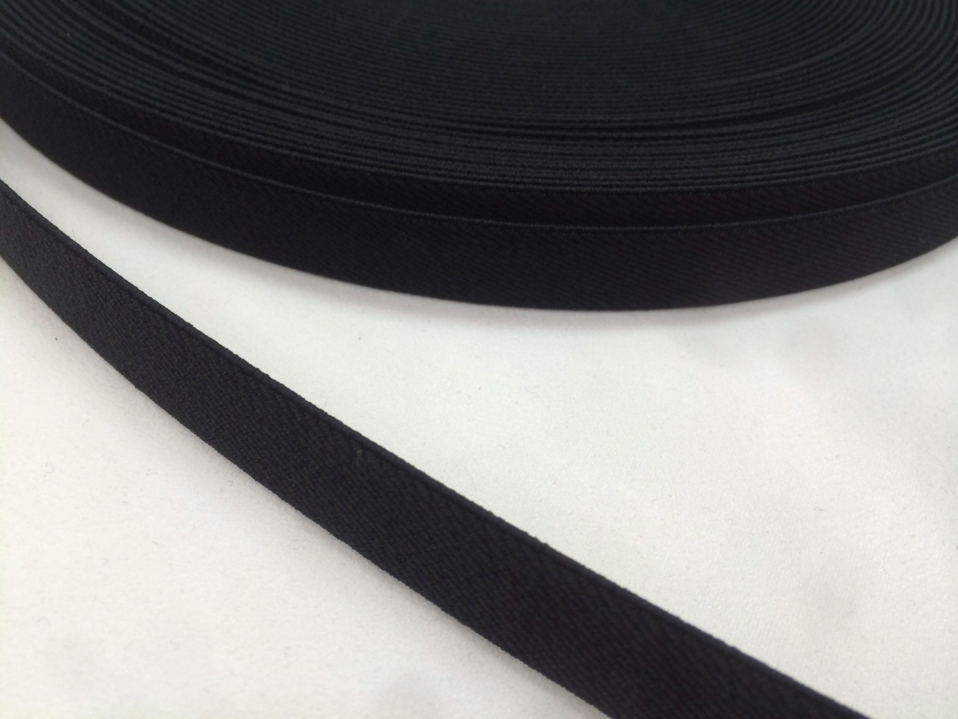 ゴムテープ 15mm幅 黒 ウーリータイプ  5mカット