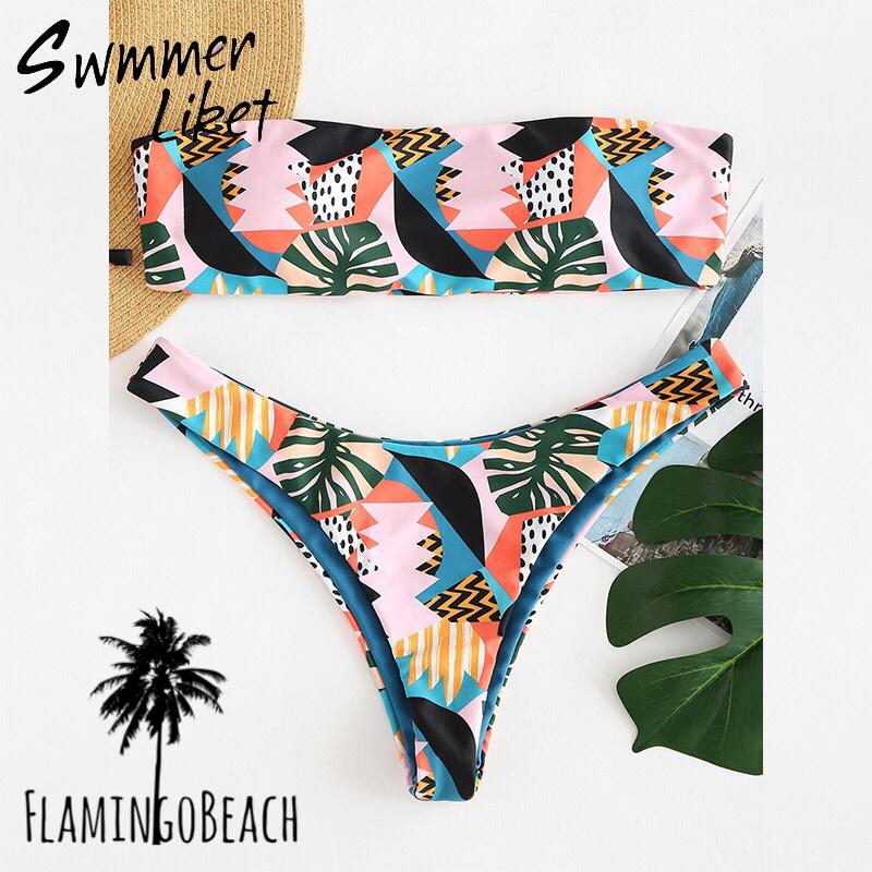 【FlamingoBeach】pattern bando bikini ビキニ