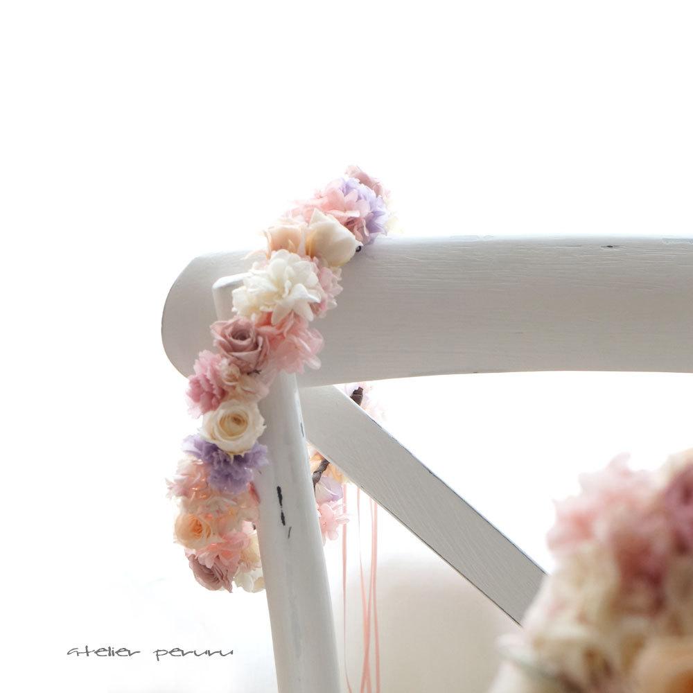 ピーチとアンティークピンクの花冠