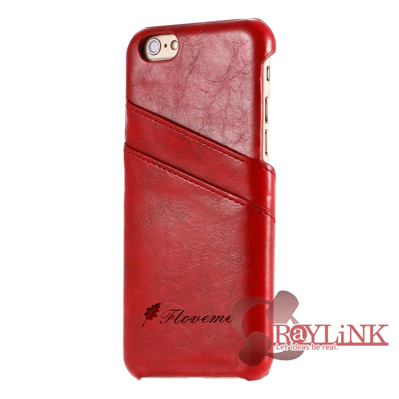 【スマホケース】iPhone7Plus用レザーケース カード入れ付き レッド