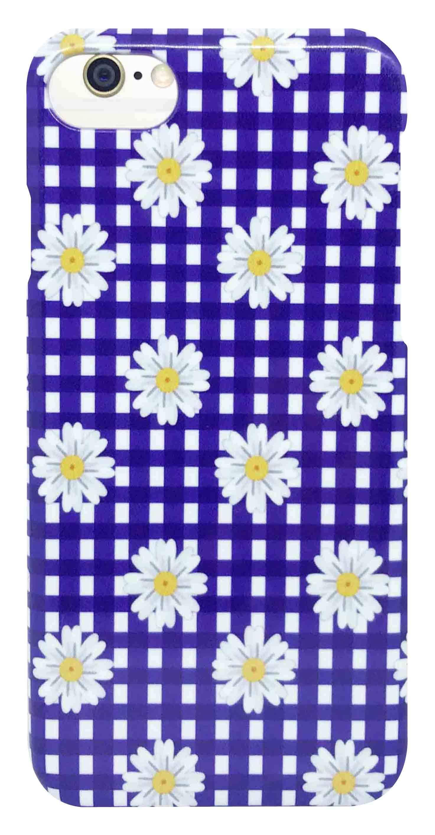 花 柄 ・ チェック ・ 青 つや有り ハード ケース